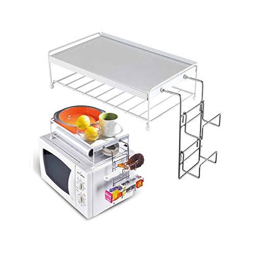 BAKAJI Mensola per Forno a Microonde Organizzatore con Ripiano Superiore per Accessori Cucina Supporto in Metallo e Plastica ABS Bianco