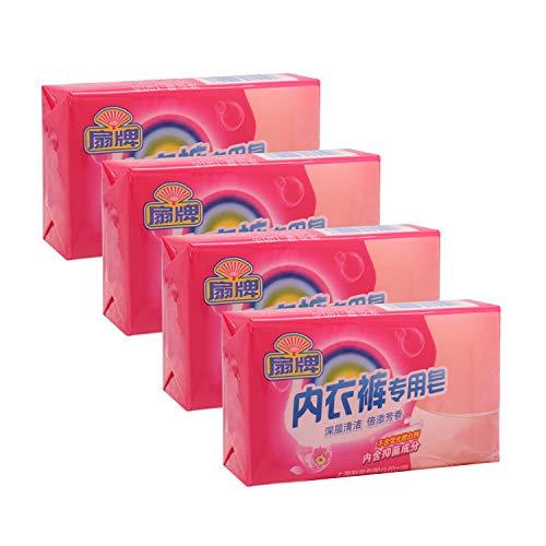 BEE & FLOWER Fan Underwear Laundry Soap Bar Ideal Hand Wash for Lingerie (6.3 Oz x 4)