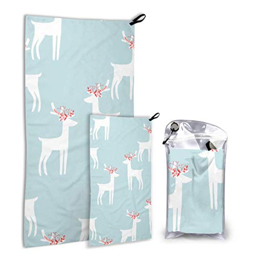 N\A Runnig Deer Actively Brave 2 Pack Microfiber Travel Beach Serviettes Big Drying Towel Set Drying Drying Best for Gym Travel Backpacking Yoga Fitnes
