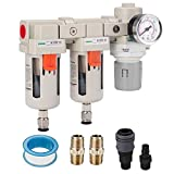 PUDUSI 3/8' NPT Compressed Air Double Filter & Regulator, Air Drying System, Air Compressor Water Separator, Semi-Auto Drain, 0-150 psi Gauge, 5 Micron Brass Element