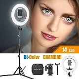 HAKUTATZ® 14'' Ringlicht Bi-Color Dimmbare LED Ringleuchte 35W 3200-5600K mit Stativ für Video...