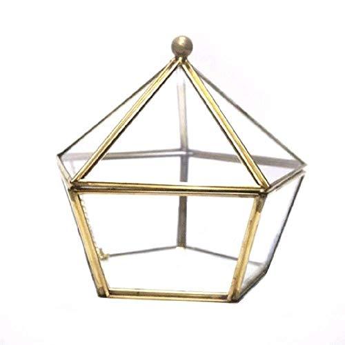 Mowtom Sieraden doos glas sieraden doos terrarium doos plant container geometrische decoratie glazen bloemen pot tafel decoratie 12 * 12 * 12 cm