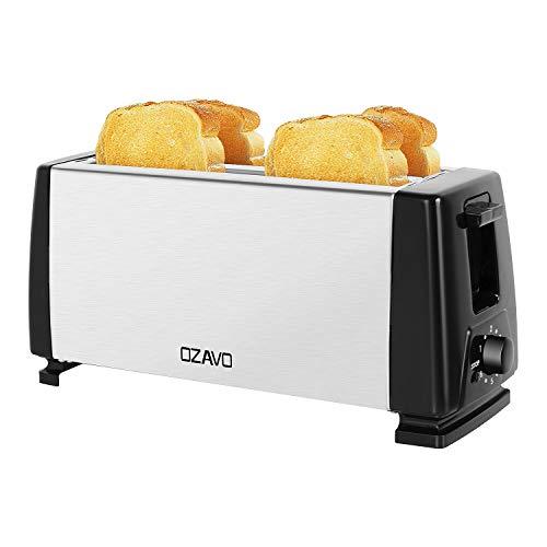 OZAVO Tostapane a fessura lunga, 4 fette di toast, con cassetto raccoglibriciole, doppia fessura, regolazione della temperatura, cassa in acciaio inox, centrifuga, 1300 W