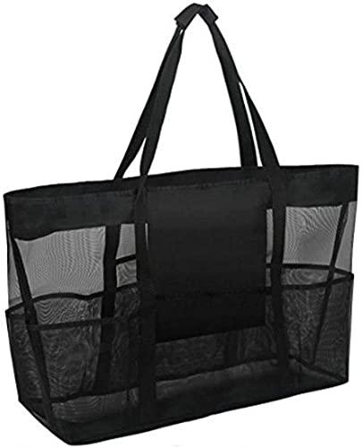 hwljxn Extra grote strandtassen - XXL-mesh draagtas met zakken en rits, heavy duty, lichtgewicht en opvouwbaar - extra grote draagtas voor handdoeken, perfect om alle items voor uw gezin te dragen