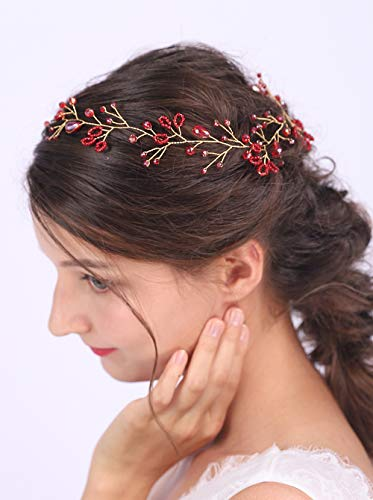 Anglacesmade Bridal Headband Red Crystal Hair Vine Ruby Headpiece for Brides Bridesmaid Wedding Prom Festival Hair Accessories for Women and Girls