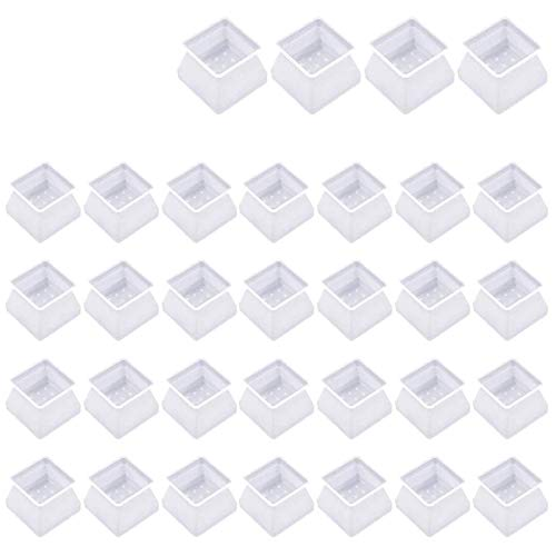 Iwinna 32Pcs Chair Leg Caps, Transparent Floor Scratches Protectors 40x34mm Square Legs Prevent Scratches and Noise Without Leaving Marks for 30-35mm Chair Cap