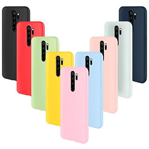 ivencase 9 × Funda Xiaomi Redmi Note 8 Pro, Carcasa Fina TPU Flexible Cover para Xiaomi Redmi Note 8 Pro (Rosa Gris Rosa Claro Amarillo Rojo Azul Oscuro Translúcido Negro Azul Claro)