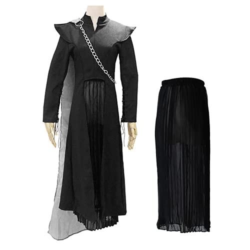 JOJO STYLE Cosplay Vêtements Game of Thrones Daenerys Targaryen Costumes Unisexe Adulte Halloween Costumes L'ensemble De 5 Pièces Comprend Tous Les Accessoires,L