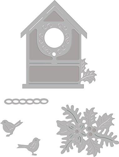 Sweet Dixie Kerst Vogelhuisje Sterf, Metaal, Grijs, 29,5 x 15,9 x 0,8 cm