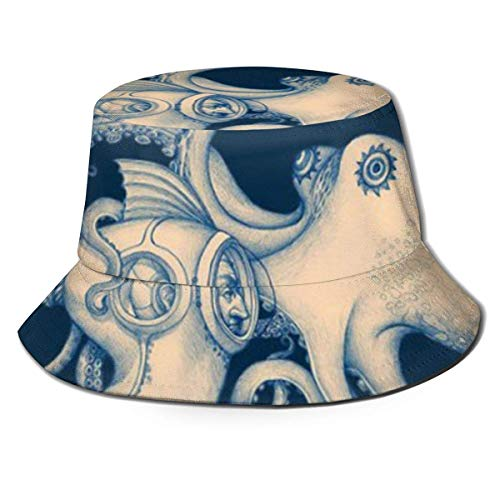 Bucket Hat Reversible Diver and Octopus Poster Steampunk Art Print Sun Hat Fisherman Hat Cap Outdoor Camping Fishing Safari steampunk buy now online