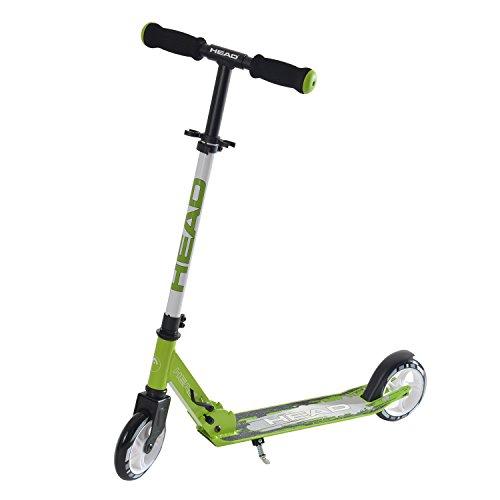 HEAD - Aluminium Scooter inkl. Hinterradbremse I Kickscooter I klappbar I Tretroller I Cityroller I höhenverstellbar I Kinder- & Erwachsenen-Scooter I inkl. Ständer - Schwarz/Grün