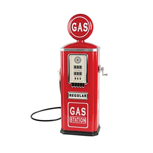 Constructive Playthings Retro Steel Gas Pump Replica with Sound Effects for Ages 3 and Up
