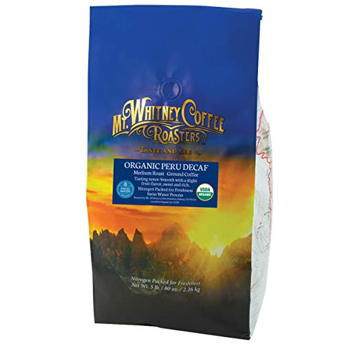 Mt. Whitney Swiss Water Decaf Coffee from Peru, Ground Coffee - 5 lb bag