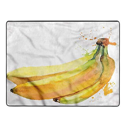 Banana Carpet Tropical Illustration Non-Slip Rugs Boys Girls Nursery Accent Rugs 6.5' x 9'