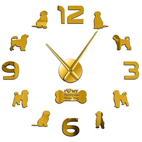 xinxin Relojes de Pared Relojes de Pared Perro de Agua portugués Grande de Bricolaje Relojes de Reloj Pegatinas de Espejo de acrílico 3D Horologe Portie PWD Geek Decoración