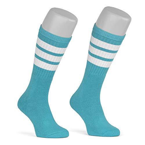 skatersocks 19 Inch gestreifte Damen Socken Kniestrümpfe wadenhohe Herren Tube Socks aqua - weiss gestreift - UNISEX - OSFA