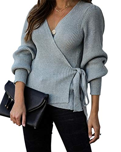 KIRUNDO Women's 2020 Autumn Winter Wrap V Neck Sweater Top Balloon Sleeves Ribbed Knitted Pullover Tie Front Tunic Top Jumper (X-Large, Gray)