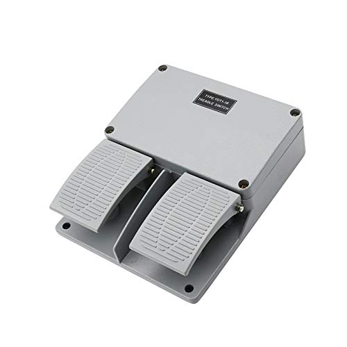 Iycorish Interruptor de Pie Ydt1-16 Cáscara de Aluminio Gris Herramienta de Máquina de Interruptor de Pedal Doble Accesorios de Interruptor