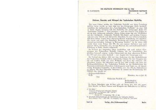 Die deutsche Wehrmacht - Fahnen , Stander und Wimpel der Technischen Nothilfe