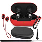 TOLUOHU Galaxy Buds 2019/Samsung Galaxy Buds+ Plus 2020 Case Cover, 6 in 1 Silicone Case Accessory Set, Protective Skin/Keychain/Anti-Lost Rope/Lanyard/Clean Brush/Storage Case (Red)