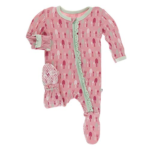 KicKee Pants Print Muffin Ruffle Footie with Zipper (Strawberry Garden Tools - 3-6 Months)
