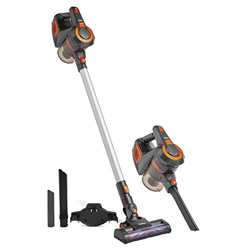 VonHaus 2 in 1 Cordless 22.2V Stick Vacuum Cleaner - 120W - 9Kpa Suction - Lightweight Upright or Handheld Design - for Hard Floors and Carpet - Includes 2-in-1 Crevice Tool and Washable HEPA Filter