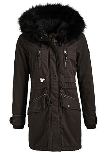 khujo Damen Parka Freja Winterjacke Coat Jacke schwarz dunkelgrau Metan Effi Jesso (M, dunkelgrau (Dark Olive))