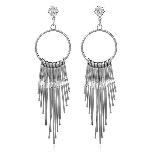 Un-brand Pendientes largos del metal de la borla del circón anti alergia de la declaración de la joyería de la plata...