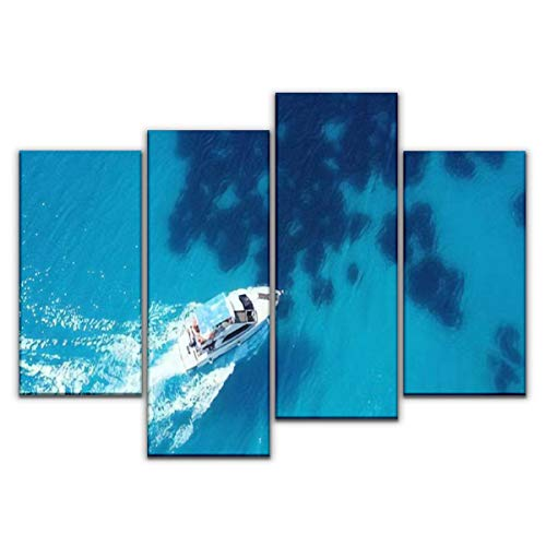 Sudoiseau 4 Panels Canvas Wall Art, Aerial Bird's Eye View Photo Taken by Drone of Boat Cruising in Painting Pictures Print On Canvas Ready to Hang for Home Decoration