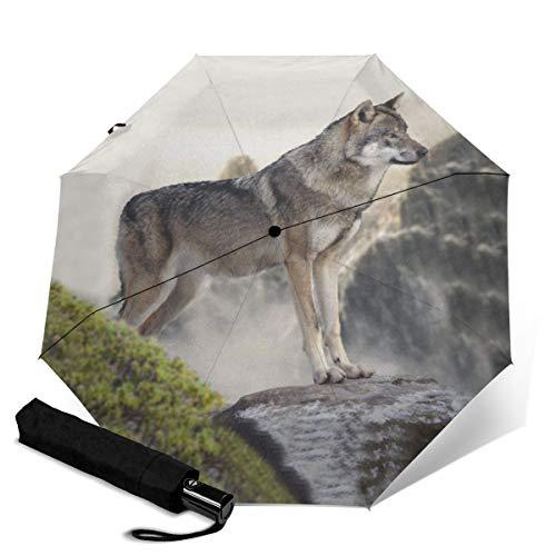 Wolf On The Mountain Seat Umkehrschirm, Regenschirm Winddicht, Umkehrschirm, Regenschirme für Frauen mit UV-Schutz, C-förmiger Griff