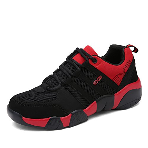 Sport Shoes for Men, Gracosy Men Casual Fashion Sneakers Breathable Athletic Sports Shoes Runing Shoes, Mesh Soft Sole Lightweight Shock Absorption Black-Red 41