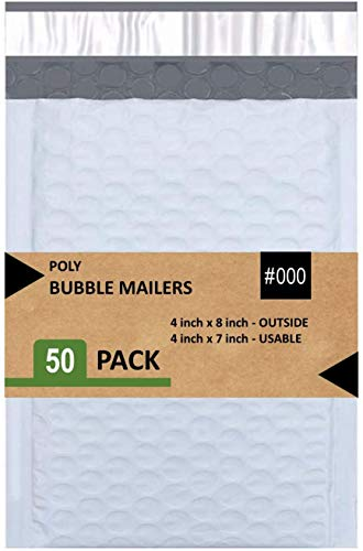 Sales4Less #000 Poly Bubble Mailers 4x8 Inches Shipping Padded Envelopes Self Seal Waterproof Cushioned Mailer 50 Pack