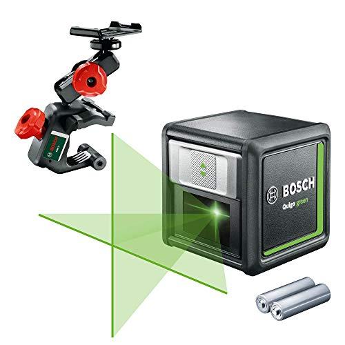 Bosch Kreuzlinienlaser Quigo Green mit Multihalterung MM 2 (grüne Laserdiode, Arbeitsbereich: 12 Meter, 2x Batterien, im Karton)