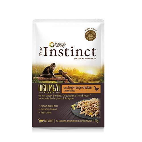 True Instinct High Meat Adult - Nature's Variety - Filetes con Pollo Campero para Gatos 70gr - Pack de 8 ✅