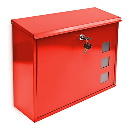 Relaxdays Design metalen brievenbus/brievenbus raampatroon, rood