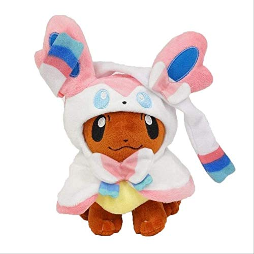 GHJU Anime Eevee Plüschspielzeug 30 cm, Poncho Umbreon Espeon Jolteon Vaporeon Sylveon Flanceon Gefüllte Puppe für Kinder 30 cm d Qingqiao (Color : C, Size : 30cm)