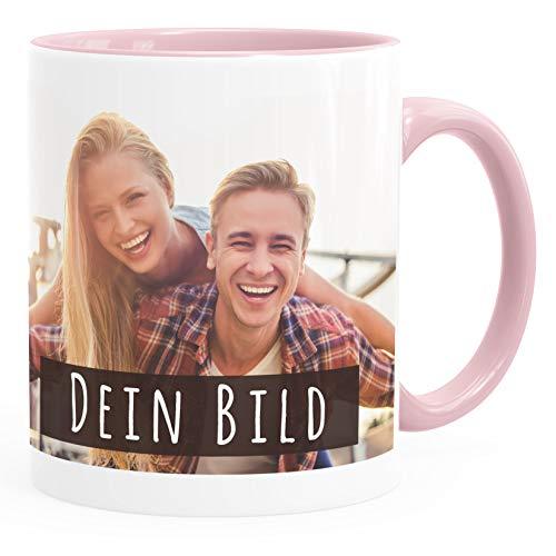 SpecialMe® personalisierte Fototasse mit eigenem Foto persönliches Geschenk Kaffeetasse mit Bild selbst gestalten inner-rosa Keramik-Tasse