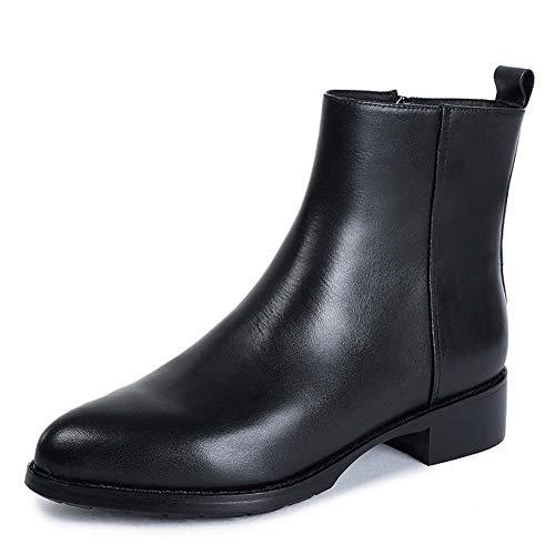 Schoenen-YRQ vrouwen ronde teen lase-up enkellaarzen dames lederen gevecht laarzen mode laarzen 40 Zwart