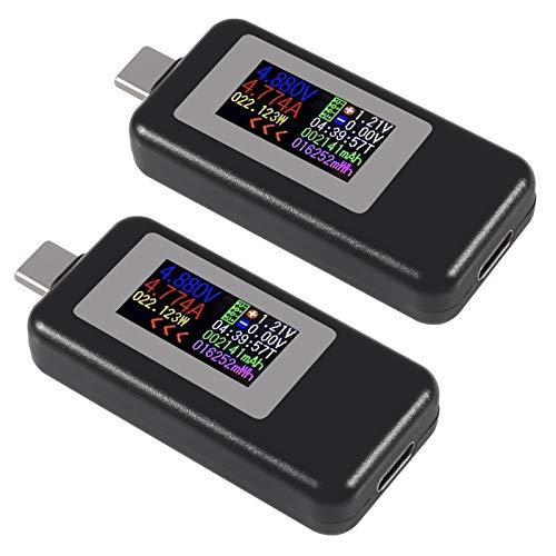 AITRIP 2PACK KWS-1902C Type-C USB Tester USB Power Meter, USB C Voltage Tester Multimeter 0-5A 4-30V Current Meter Tester, USB-C Charger Tester, Color Display Type C Voltmeter Ammeter