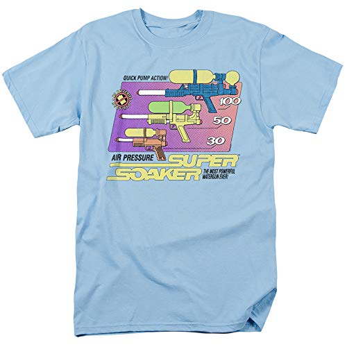 Super Soaker Original Unisex Adult T-Shirt for Men and Women, Light Blue, 2X-Large