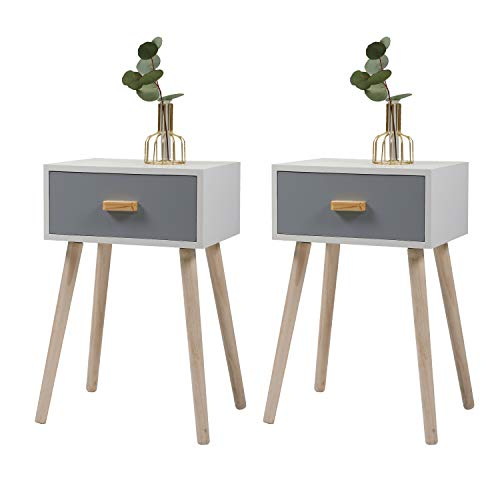 JAXSUNNY Set of 2 Mid-Century Wood Nightstand Side End Table with Storage Drawer and Solid Wood Legs, Bedside Table for Home Furniture,White+Silver Blue Pearl