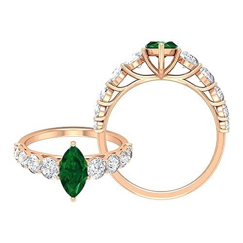 Anillo de compromiso solitario de esmeralda de corte marquesa de 5 x 10 mm, anillo de compromiso de moissanita (calidad de reliquia), oro rosa de 14 quilates, tamaño: UK Y