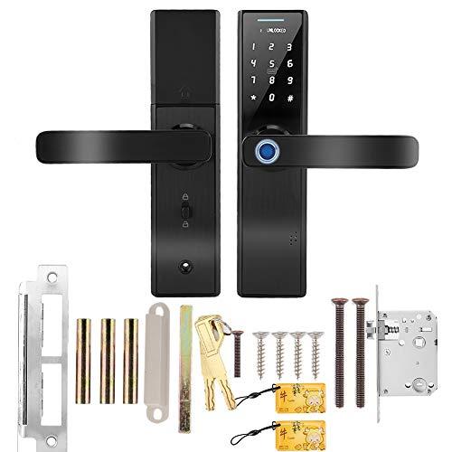 Acogedor Cerradura de Puerta Inteligente, Cerradura de Puerta de Huellas Dactilares, desbloqueo de Huella Digital, Tarjeta IC, contraseña, Llave mecánica, alimentación de Emergencia USB(Negro)