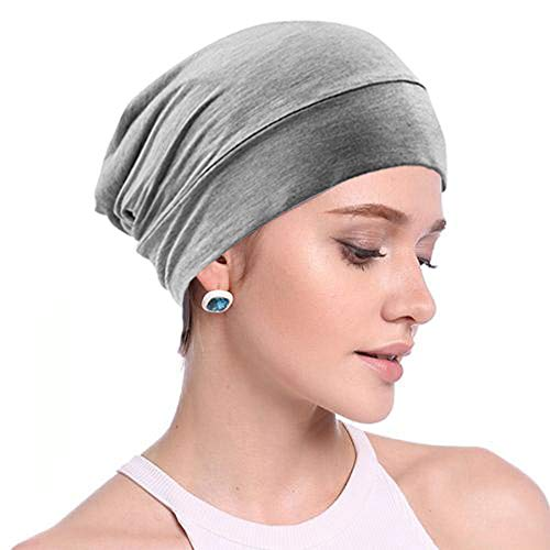 Hair Cover for Sleeping, Satin Sleep Cap Beanies Hat with Slouch Adjustable Stay on Silk Lined for Men and Women Warm in Cold Winter Night Surgical Hats Protecting Hair -GRAY