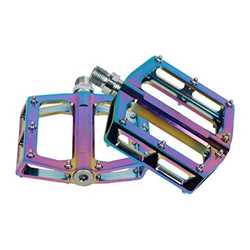 NJXM Rainbow Color Mountainbike Pedale Rutschhemmende Flache Plattform-Aluminium-Legierung MTB Fahrrad-Pedale,Natural