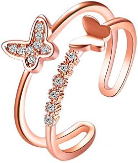 Flzaitian Silver Rose Gold Butterfly Statement Ring Opening Adjustable Double Butterfly Ring product image
