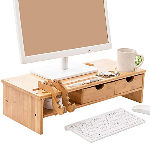 DSMGLRBGZ Soporte Monitor, Elevador Monitor Laptop Stand Soporte Laptop Rejilla Elevada De 2 Cajones para Teléfono Móvil Copa Lápiz Teclado Aliviar El Dolor,A