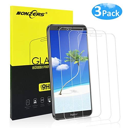 NONZERS Vetro temperato per Huawei Honor 9 Lite, [3 Pezzi] 9H Durezza Ultra-Clear Copertura Totale Anti-Olio, Graffi e Impronte digitali Pellicola Pro