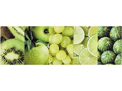 Küchenteppich - 150 x 50 cm - Küchenläufer - Küchenmatte - Kuechen Lauefer - Läufer - Verschiedene Motive Design Deko - 30°C Waschbar - Rutschfest (Obst Grün)