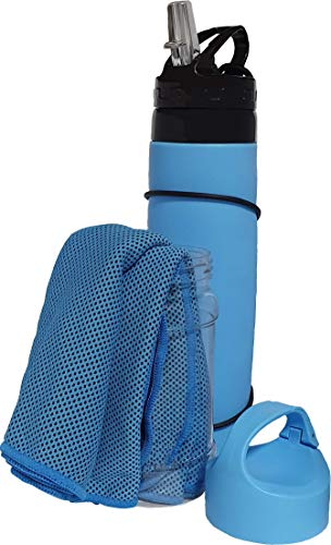 Campfire Products Collapsible Water Bottle with Bonus Cooling Towel (Light Blue)